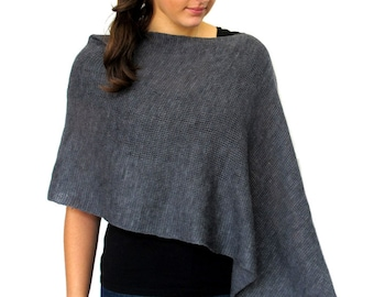 Dark Grey Wool Poncho in Lightweight Merino Wool