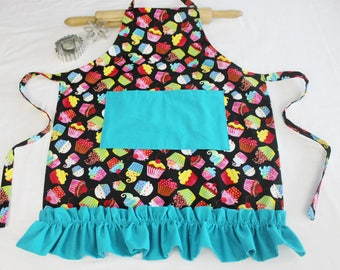 Ruffled Colorful Cupcakes on Black Youth Size Apron with Teal Ruffle and Pocket - ready to ship
