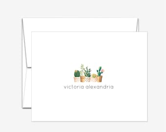 Personalized Stationery - Succulents - Folded Note Cards