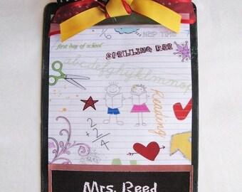 Custom Teacher Clipboard Chalkboard Doodle