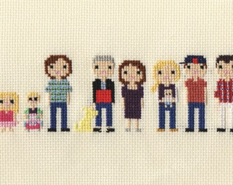 Extra Large Custom Family Portrait in Pixel Cross Stitch (Unframed)