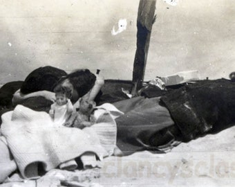vintage photo 1913 Teddy Bear & Doll toy Bathing Beauty Gals Sleep on Rockaway Beach NY
