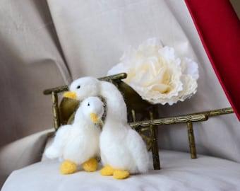 Goose ornament goose Easter goose couple goose figurine felted goose decor bird farm animal wedding white goose figurine goose cake topper