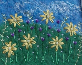 Wet-Felted Flower Picture With Hand-Embroidery.