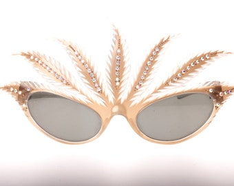 Unique hand made in france feathers with rhinestones mardi gras sunglasses, NOS 50s, probably Paulette Guinet