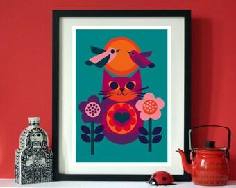 Daisy Love cat A3 print by Jay Kaye