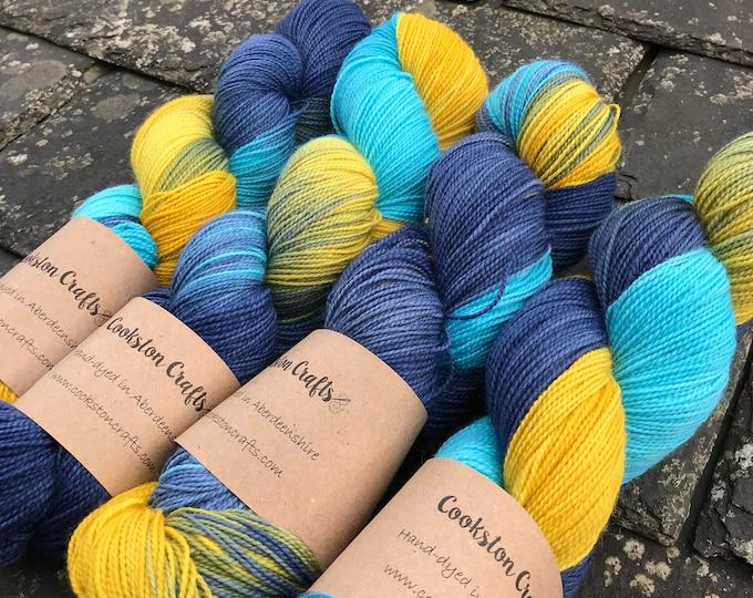 100g Superwash Merino / Nylon High Twist Sock Yarn 75/25 merino / nylon, 4 ply, fingering, hand dyed, navy yellow turquoise