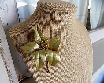 FREE SHIPPING Vintage Gold Flower Brooch Pin with Rhinestone Accents