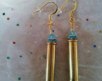 22 long bullet earrings with blue swarvosli crysyal