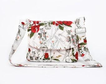Skeletons and Roses Messenger Bag