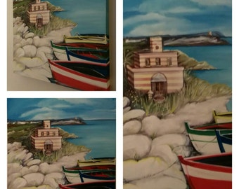Acrylic painting on canvas, sea landscape with boats, and Cliff.