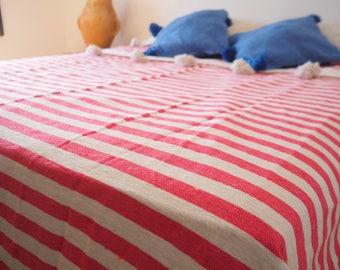 "pink/white  stripes blanket /100% cotton / hande made / 3x2 m/ 118"" x 78"""