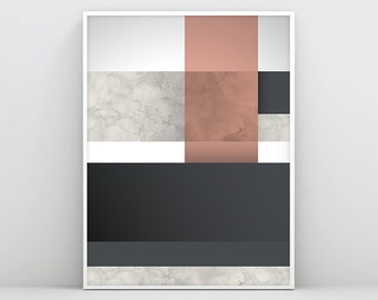 Modern Wall Art, Abstract Art, Black and White Decor, Minimalist Art, Modern Art, Geometry, Pink Marble