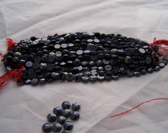 Antique Czech glass nailhead beads sew on flat backs Gunsmoke grey 7 mm round faceted.