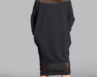 Long Black Sweater, Womens Black Dress, Long Sweater Dress, Loose Sweater, Maxi Sweater, Pullover Dress, Black Sweater Dress