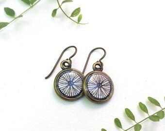 Bike Wheel Earrings, mountain biking gift, unicycle Bicycle Print, Bike gift