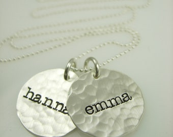 Hand Stamped Necklace - Personalized Name Necklace - Engraved