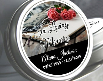 12 Personalized Memorial Mint Tin Favors - In Loving Memory - Memorial Mints - Memorial Book with Roses