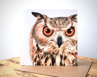 Eagle Owl Greetings Card - Owl Card - Owl Art - Owl Painting - Owl Portrait - Wildlife Art - Wildlife Card - Blank Card - Owl Birthday Card