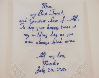 Mother of the Bride embroidered wedding Handkerchiefs keepsake Hankerchiefs gift accessories accessory embroidery women's bridal momento