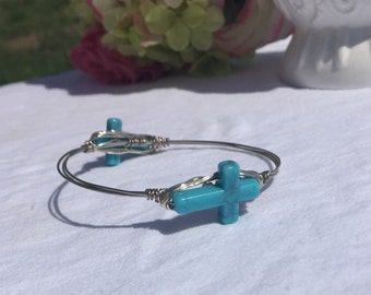 Small Turquoise Cross wire wrapped bangle bracelet ** Bourbon & Bowties inspired