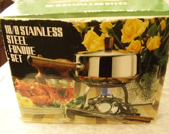 Stainless Steel FONDUE SET/New Old Stock/Not Used
