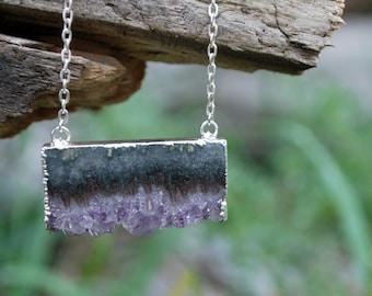Amethyst slice necklace, purple amethyst slice necklace, purple amethyst crystal necklace, crsytal slice necklace