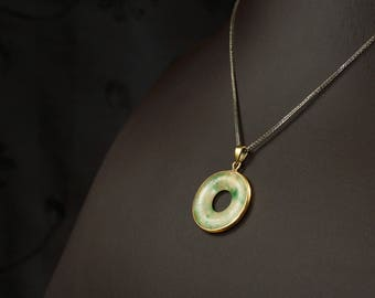 Round jade pendant etsy old chinese traditional jade pendant with gold frame and hook in round or donut shape as mozeypictures Gallery