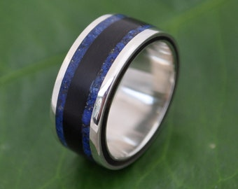 Lados Lapiz Coyol - wood and stone ring with recycled sterling silver, wooden wedding ring,