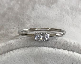 Rings, Rings For Women Silver, Solitare Ring, Promise Ring For Her, Wedding Ring, Baguette Ring, Anniversary Ring, Women Rings, Bridal Rings