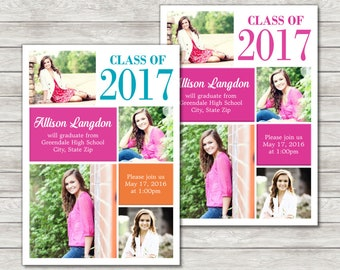 Girl Graduation Announcement Invitation Pink - Digital File (Printing Services Available)