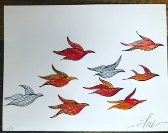 Birds, painting, watercolor, orange  black and white