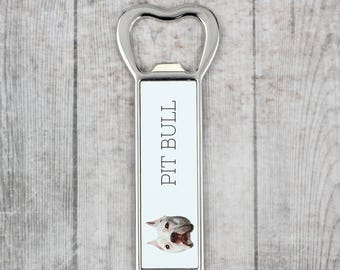 A beer bottle opener with a American Pit Bull Terrier dog. A new collection with the geometric dog