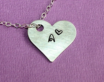 Aluminum Heart Necklace - Hand Stamped Jewelry - Gift - Custom Initial Pendant - Personalized