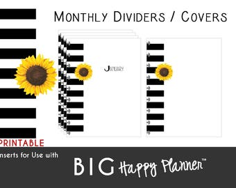 BIG Happy Planner Dividers / Covers [PDF]  Create 365 | mambi | Me & My Big Ideas - Sunflower and Stripes - PRINTABLE - 8.5 x 11