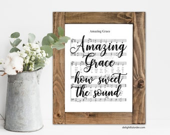 Amazing Grace Sheet Music Printable - JPEG Digital File - Instant Download - You Print- You Frame