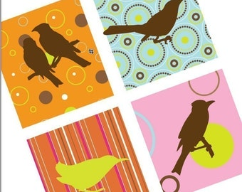 Digital Funk Birdies and Patterns - One Inch (25mm) Pendant Square Collage Images  - Digital Sheet - Buy 2 Get 1 Free - Instant Download