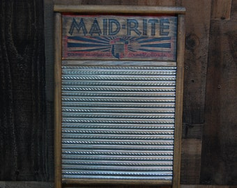 Vintage Maid-Rite Washboard, vintage wooden washboard galvanized metal, number 2072, standard family size, great condition, nice display