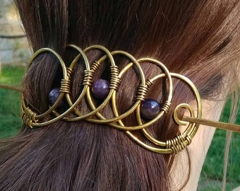 Brass Hair Barrette Аmethyst Stone, Hair slide, Hair Clip for thick hair, Hair stick, Hair Accessories, Ponytail holder, special packaging