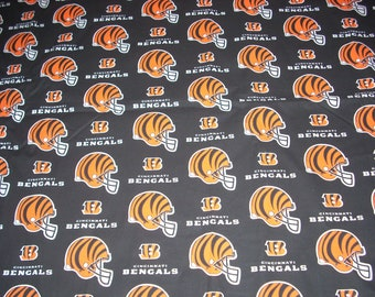 Cincinnati Bengals  cotton fabric 18 1/2 inches long by 47 inches wide