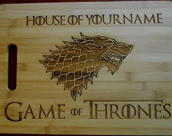 Custom Personalized Game of Thrones Bamboo Cutting Board Laser-engraved cheese board House Of Engraved names on cutting board
