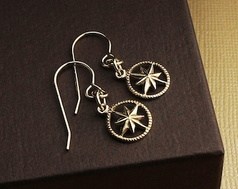 Gold compass earrings compass jewelry gold compass jewelry compass earrings compass charm nautical star compass starburst compass charm