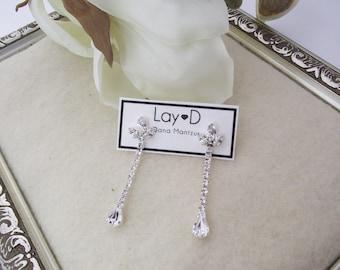 Bridal Earrings, Long Crystal Earrings, Long Bridal Earrings, Silver Bridal Jewelry, Cubic Zirconia earrings, Dangle Wedding Earrings, Drop