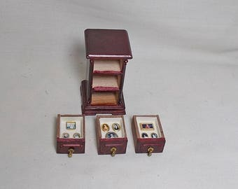 Dolls house Miniature Portrait Display small chest of drawers