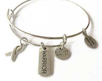 Survivor Expandable Bracelet Survivor Stacking Bracelet Warrior Charm Bangle Survivor Ribbon Adjustable Wire Charm Bangle Bracelet (JB91)