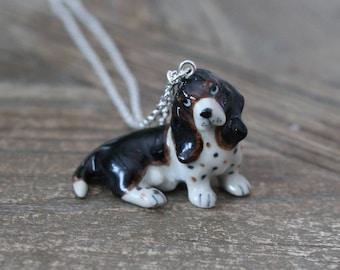 Basset dog ceramic necklace