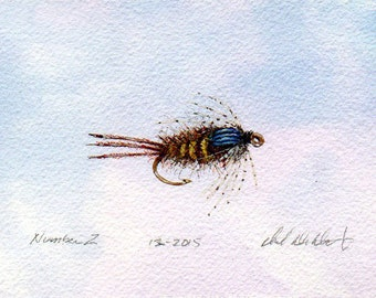 Original Watercolor Painting - Fly Fishing Art - Watercolor - Fishing Nymph - Michigan Made - Fly Fishing - Great Lakes Artist - Black Frame