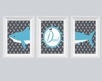 Shark Nursery Decor Personalized Name Charcoal Gray Ocean Blue Wall Art Ocean Boy's Room Print of 3-8X10 Kids Room Baby's Room Decor