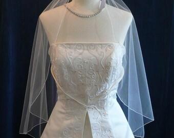 Fingertip length Cascading Angel style wedding veil
