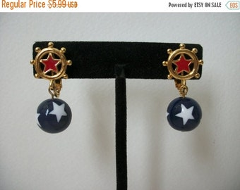 ON SALE Vintage Shades Of Gold White Red Blue Earrings 1039